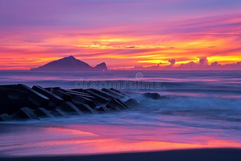Beau lever de soleil à Taïwan images libres de droits