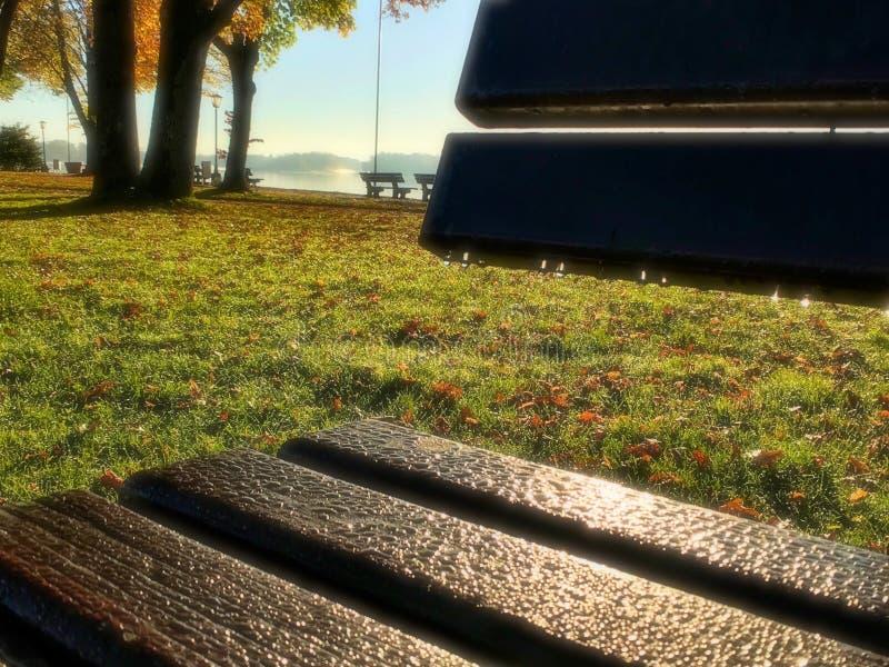 Beau lever de soleil allemand près de lac images libres de droits