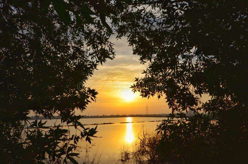 Beau lever de soleil au lac image libre de droits