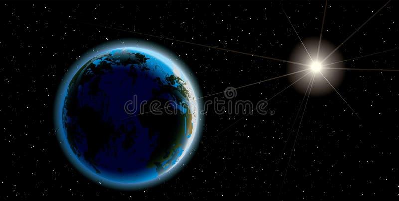 Beau lever de soleil de la terre de planète illustration de vecteur