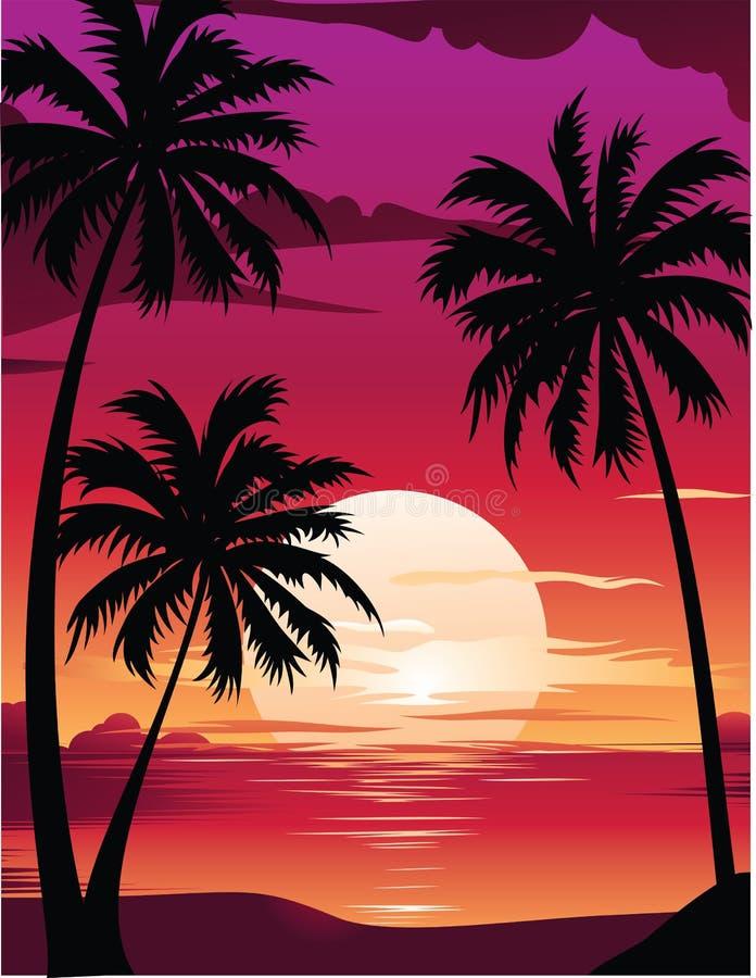 beau lever de soleil de mer illustration libre de droits