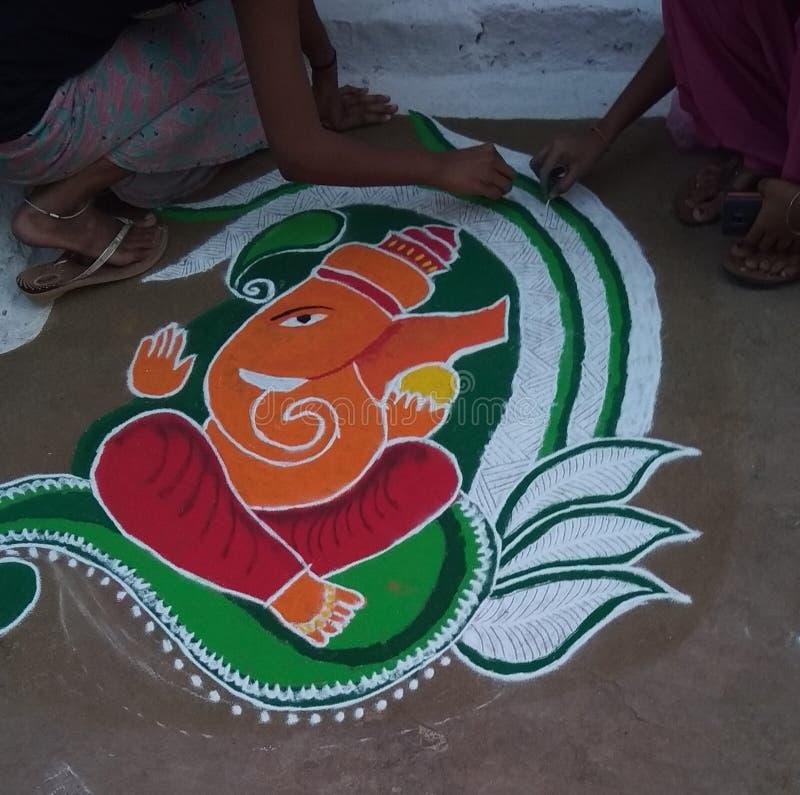 Beau Lord Ganesha dessinant la PIC image stock