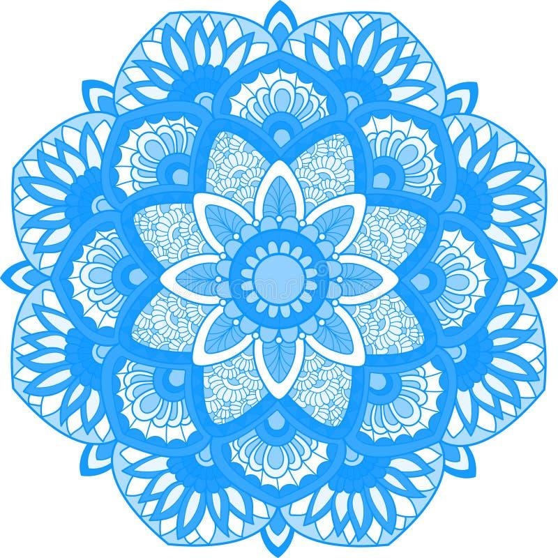 Beau mandala indien calme bleu illustration stock