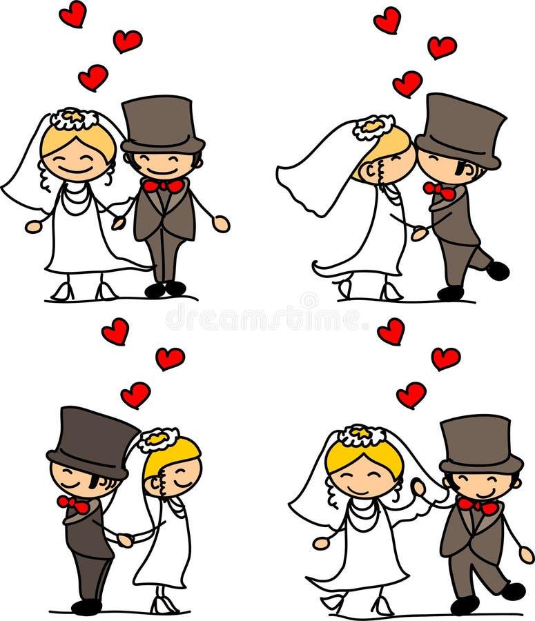 Beau mariage la mariée et le marié illustration stock