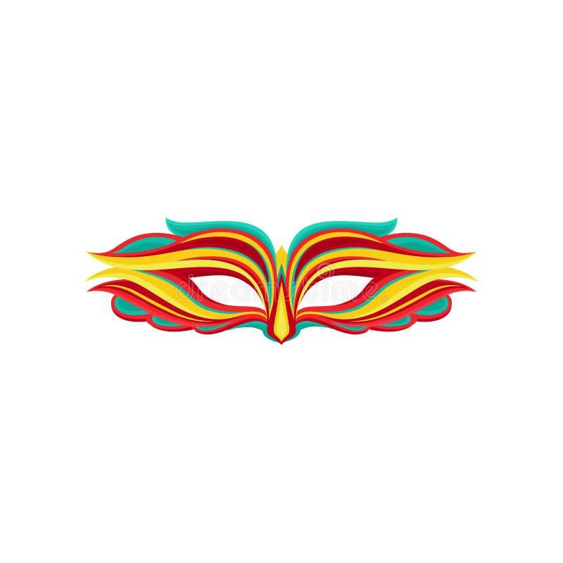 Beau masque de mascarade dans le style plat Attribut de costume de vacances Élément graphique pour la carte de voeux, partie illustration stock