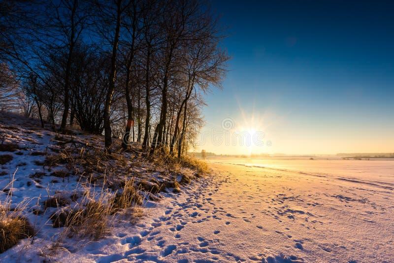 Beau matin froid sur la campagne neigeuse d'hiver photos libres de droits