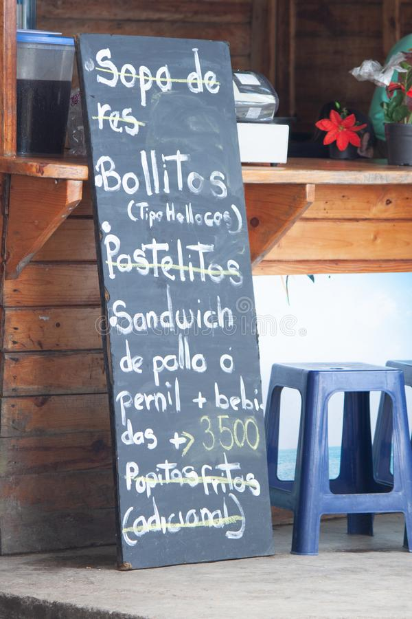 Beau menu étonnant et différent de tableau noir au restaurant Venezuela de Galipan photographie stock libre de droits