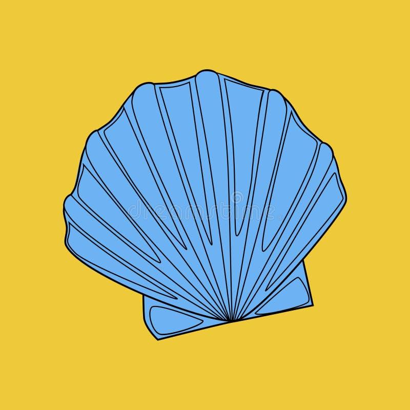 beau mignon lumineux bleu gracieux de coquille illustration libre de droits