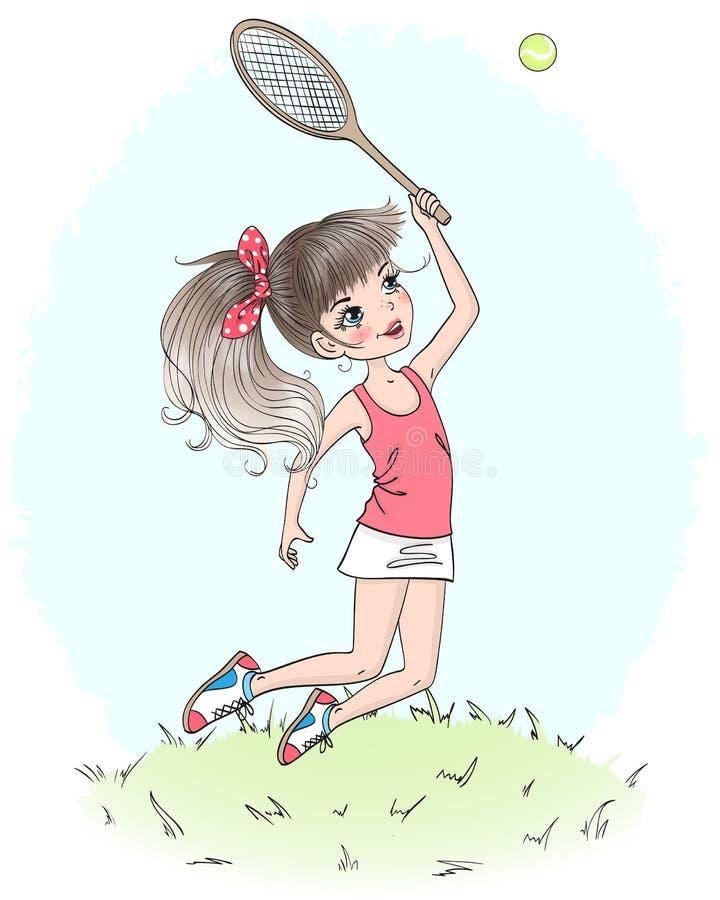 Beau, mignon, peu de fille de tennis Illustration de vecteur illustration de vecteur