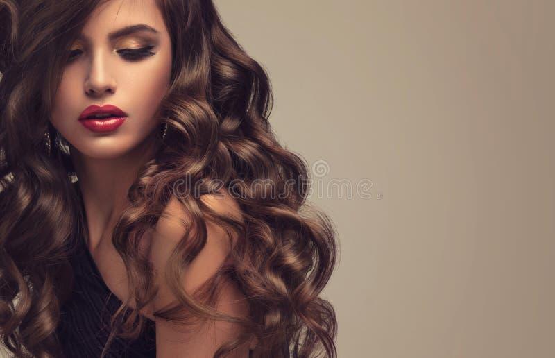 Beau modèle avec longtemps, dense et bouclée la coiffure image stock