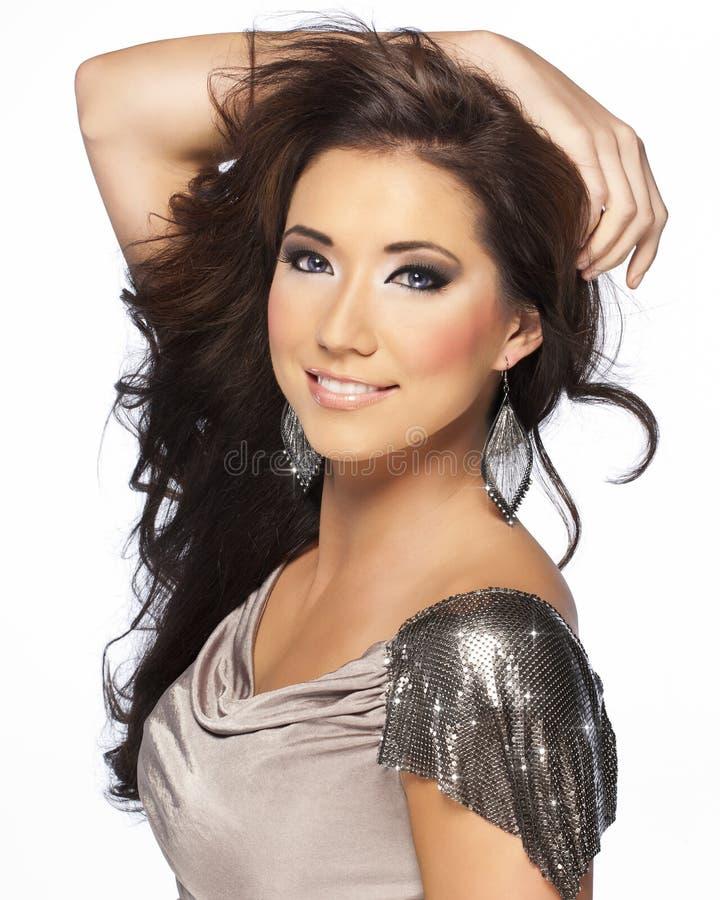 Beau modèle de cheveu de Brunette avec des œil bleu photos libres de droits