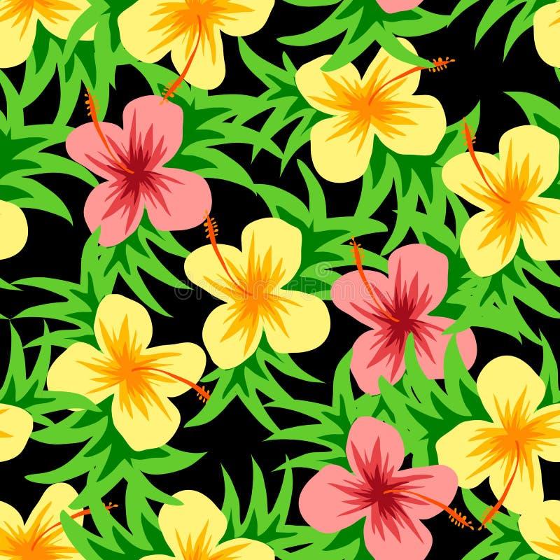 Beau modèle de fleur de vecteur avec la feuille sur le fond blanc images stock