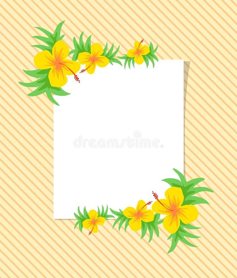 Beau modèle de fleur de vecteur avec la feuille sur le fond blanc photographie stock