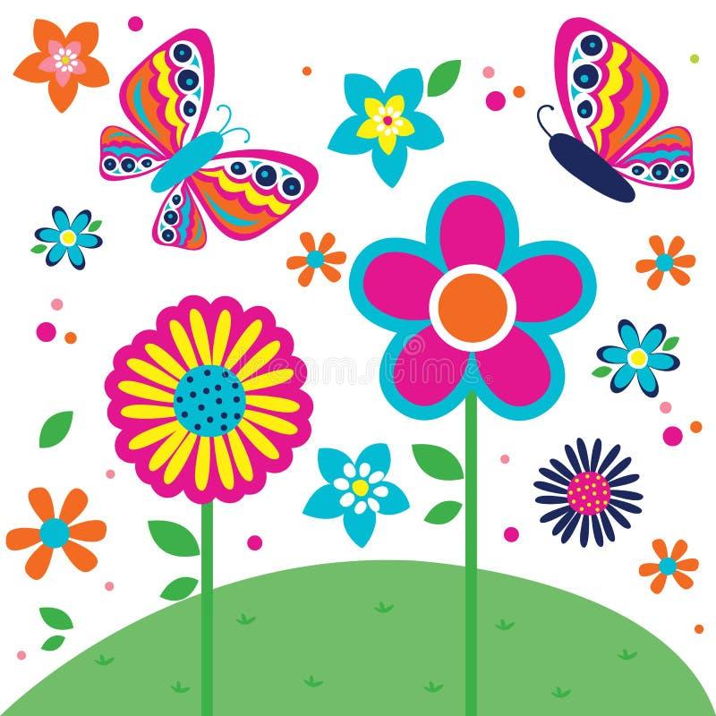 Beau modèle de papillon et de fleurs photographie stock libre de droits