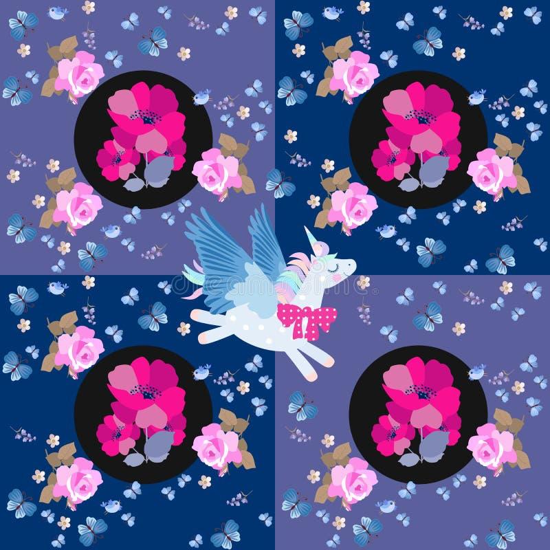 Beau modèle de patchwork avec la licorne de vol, bouquets des fleurs de pavot, roses roses, papillons bleus et petits oiseaux illustration libre de droits