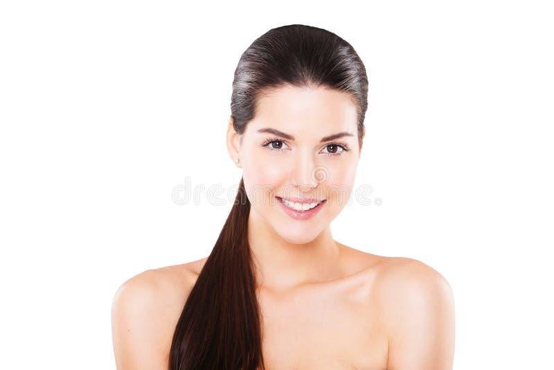 Beau modèle femelle de sourire avec frais parfait photos libres de droits