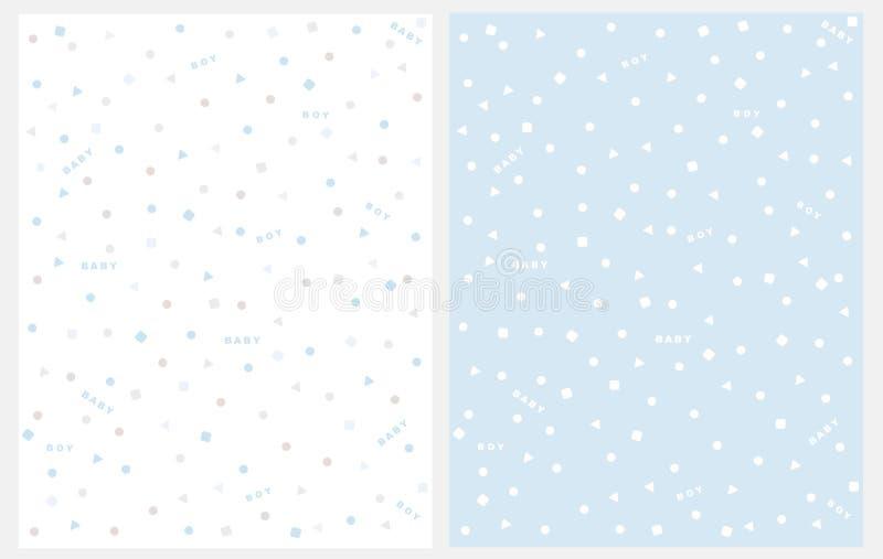 Beau modèle géométrique abstrait de vecteur avec la pluie de confettis Décoration mignonne de partie de bébé garçon illustration de vecteur