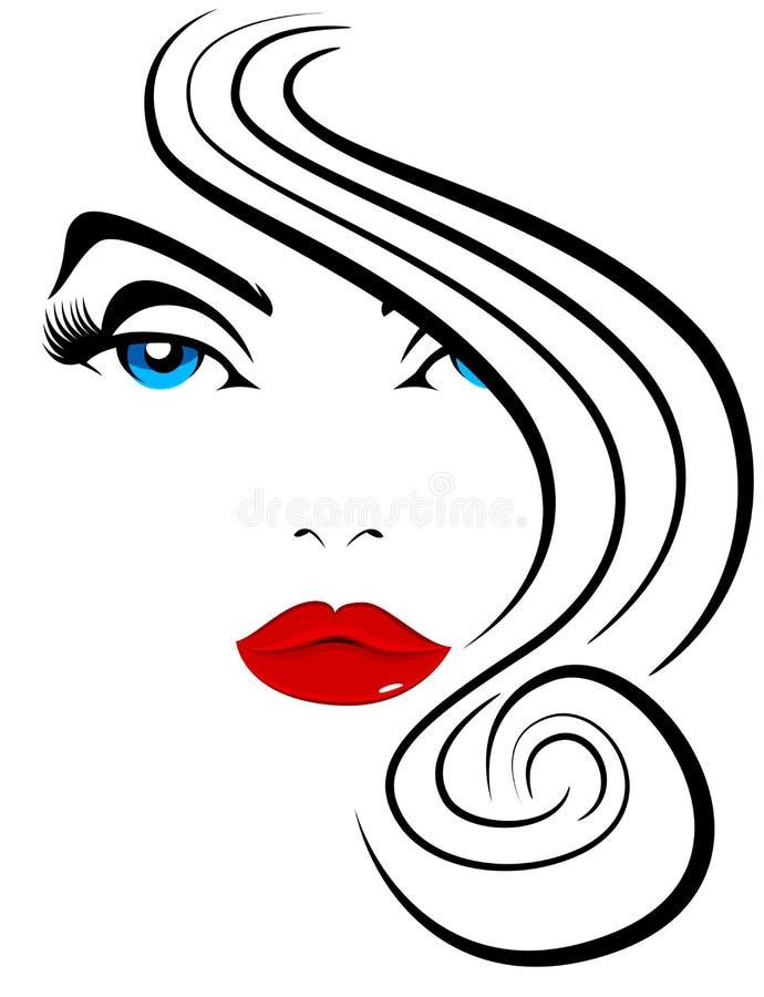 Beau modèle Hair Fashion de femme illustration libre de droits