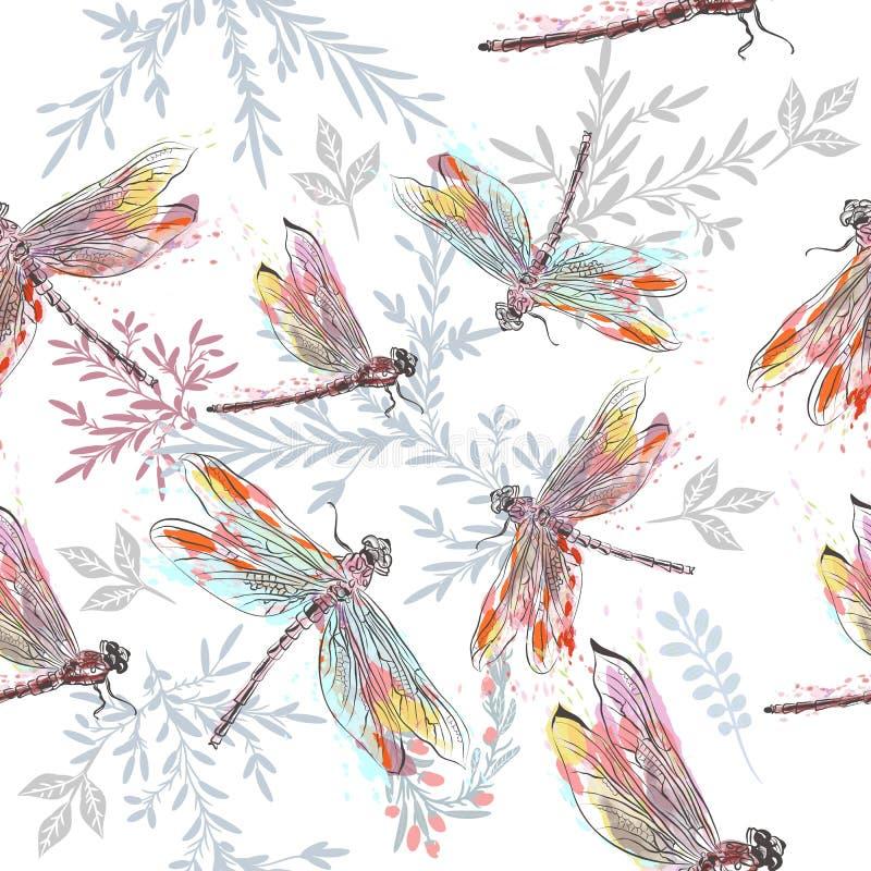Beau modèle ou fond avec la libellule dans le St d'aquarelle illustration libre de droits