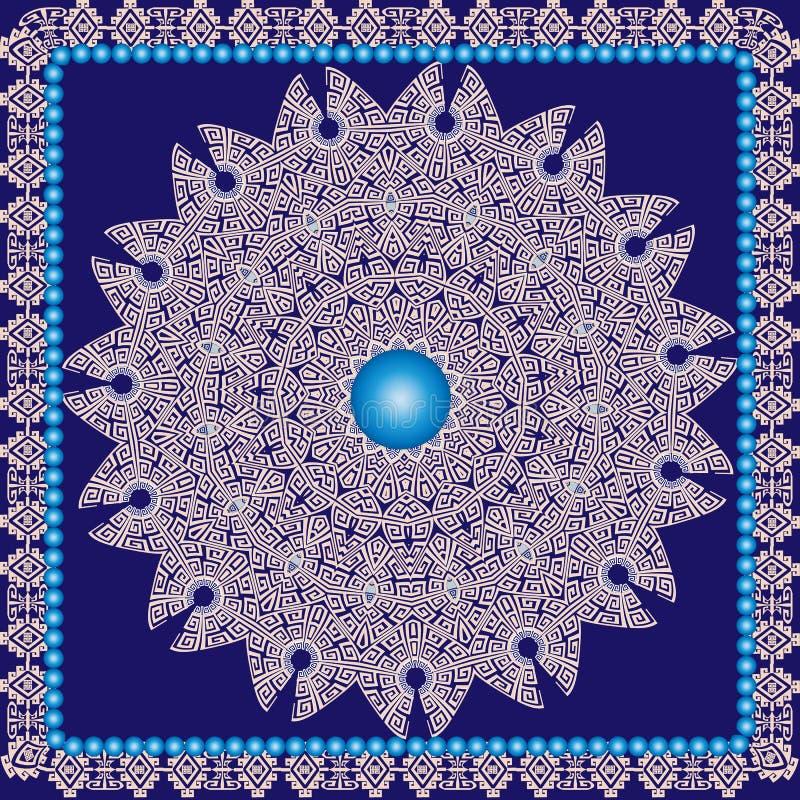 Beau modèle rond grec ornemental de mandala Fond antique de style ethnique tribal géométrique Cadre modelé par place 3d illustration stock