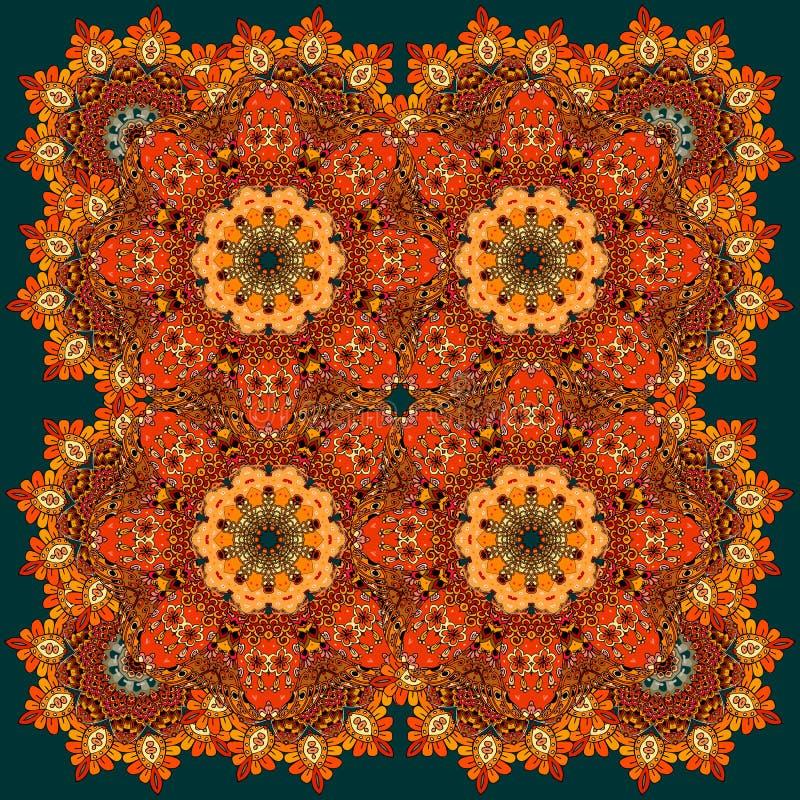 Beau modèle russe avec les fleurs ardentes Tapis, nappe illustration stock