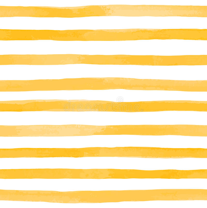 Beau modèle sans couture avec des rayures d'aquarelle de jaune orange courses peintes à la main de brosse, fond rayé Illustrat de illustration de vecteur