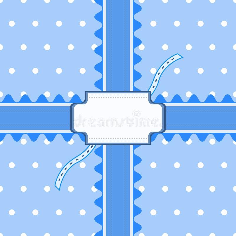Beau modèle sans couture avec la dentelle et carte dans la couleur bleue illustration stock