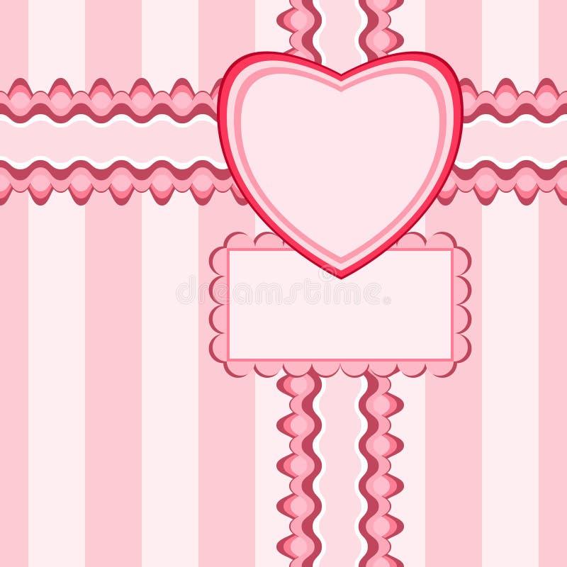 Beau modèle sans couture avec la dentelle et carte dans la couleur rose illustration libre de droits