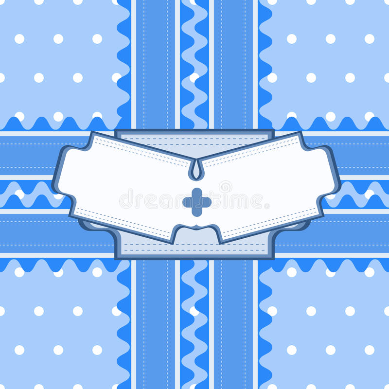 Beau modèle sans couture avec la dentelle et double carte dans le col bleu illustration libre de droits