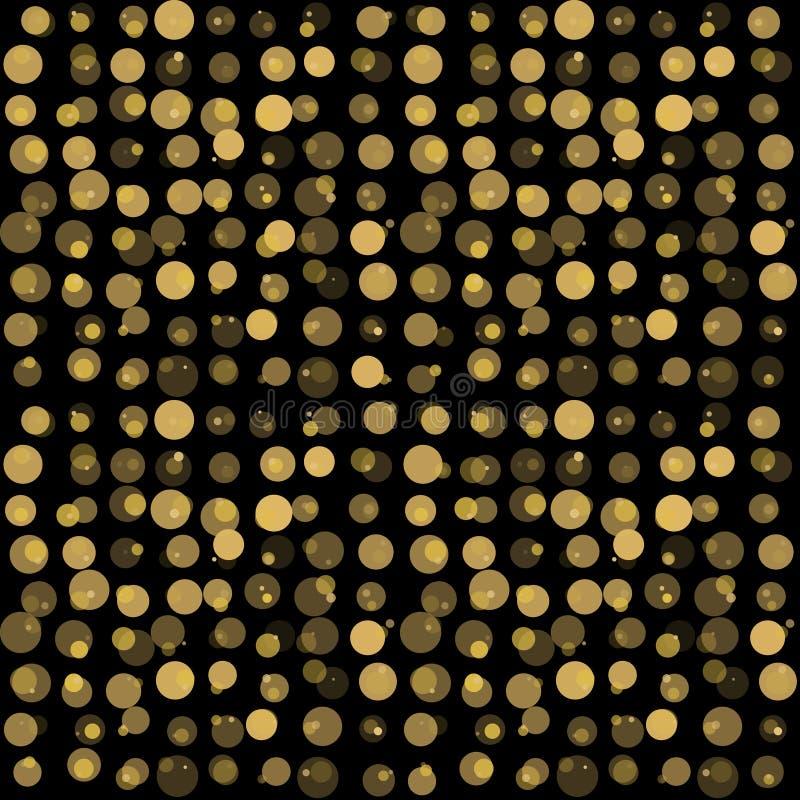 Beau modèle sans couture avec le cercle éclatant d'or sur le fond noir illustration libre de droits