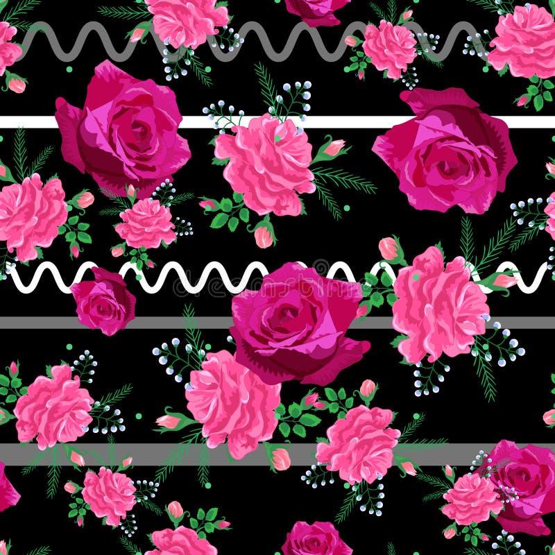 Beau modèle sans couture avec le rose, roses rouges sur un fond rayé noir Vecteur d'?t? illustration libre de droits