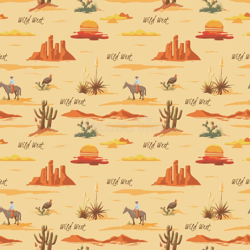 Beau modèle sans couture d'illustration de désert de vintage Aménagez en parc avec le cactus, les montagnes, cowboy sur le cheval illustration libre de droits