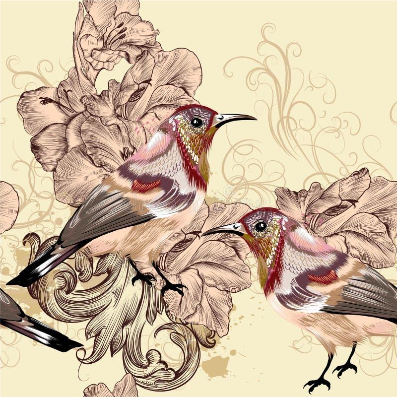 Beau modèle sans couture de papier peint de vecteur avec des oiseaux illustration stock