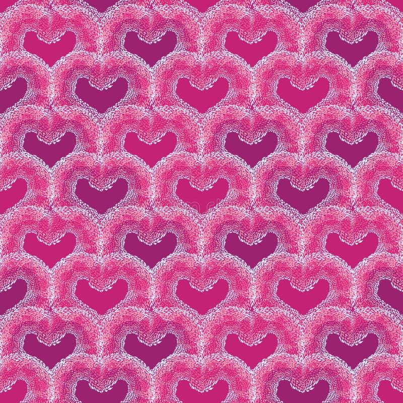 Beau modèle sans couture de vecteur avec des formes texturisées de coeur de serpent d'amusement sur le fond bleu-clair pour scrap illustration stock
