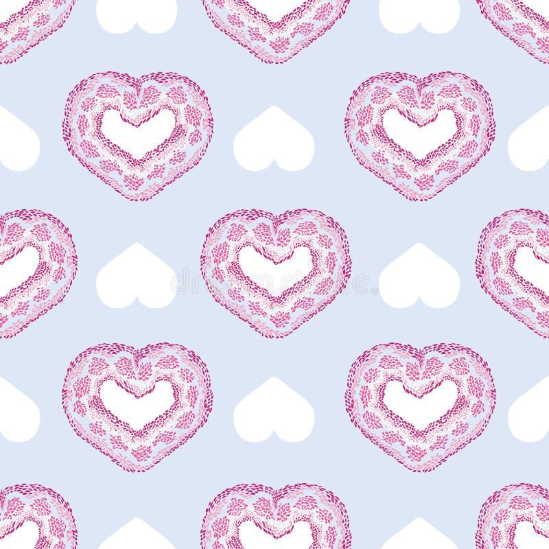 Beau modèle sans couture de vecteur avec des formes texturisées de coeur de serpent rose sur le fond bleu-clair pour scrapbooking illustration stock