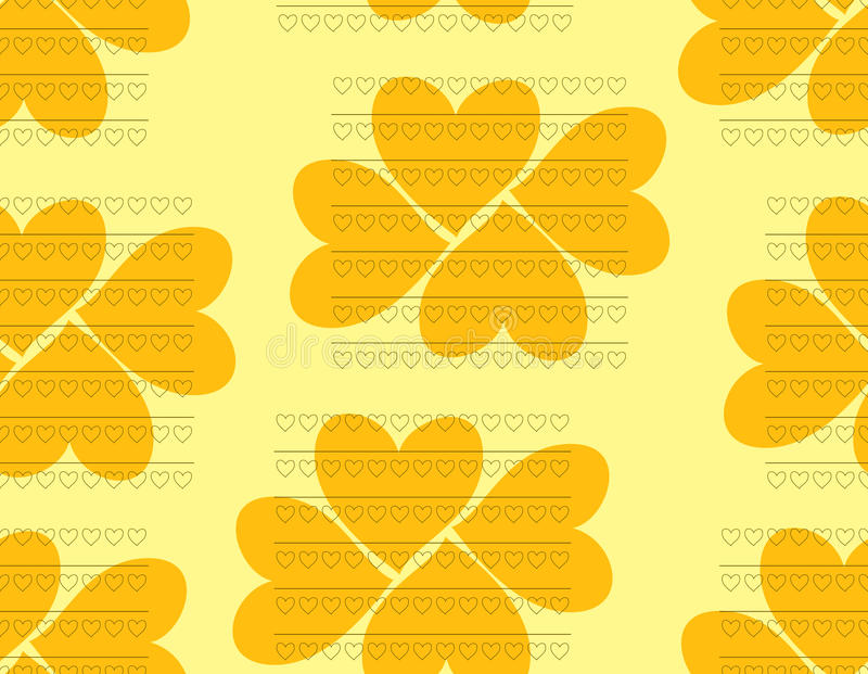 Beau modèle sans couture des coeurs dans des couleurs oranges et jaunes illustration libre de droits