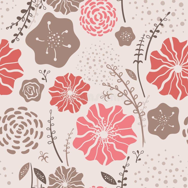 Beau modèle sans couture floral avec le corail de couleur de tendance - fond de répétition avec des fleurs de griffonnage, grande illustration stock