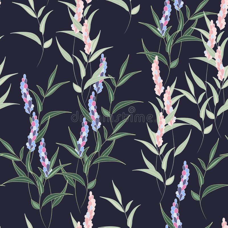 Beau modèle sans couture floral Fleurs et feuilles roses et violettes de lavande illustration libre de droits