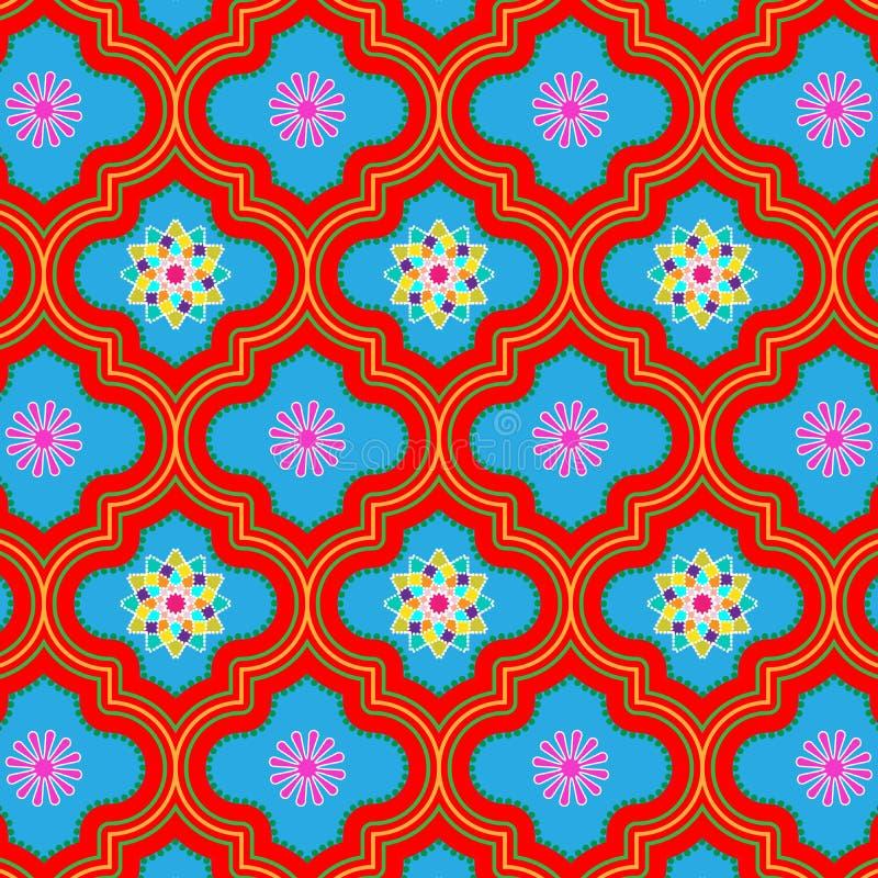 Beau modèle sans couture floral rouge et bleu vibrant du Maroc illustration de vecteur