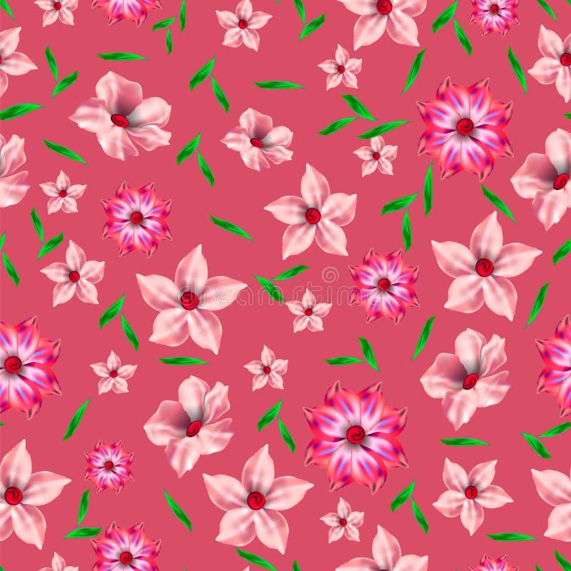 Beau modèle sans couture floral sur le fond rose illustration stock