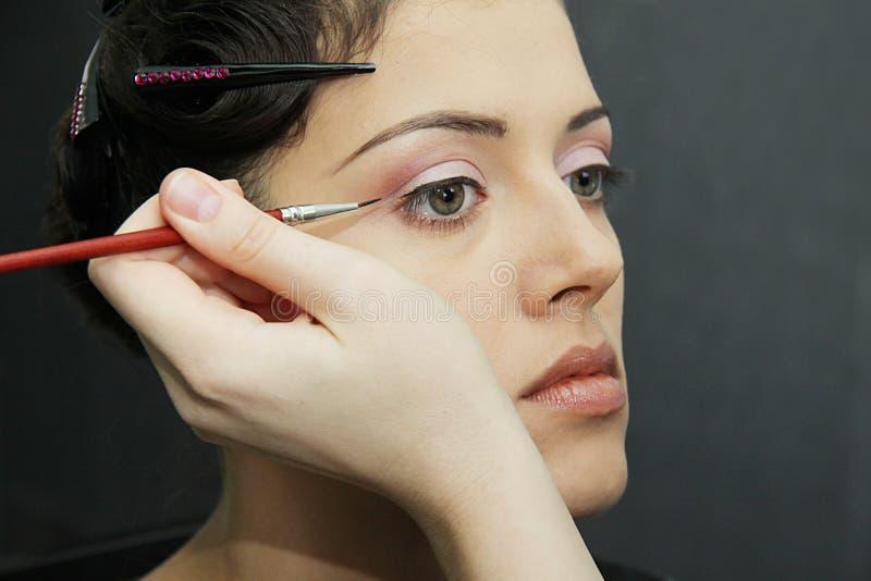 Beau modèle sexy, maquillage de partie de nuit de mode images libres de droits