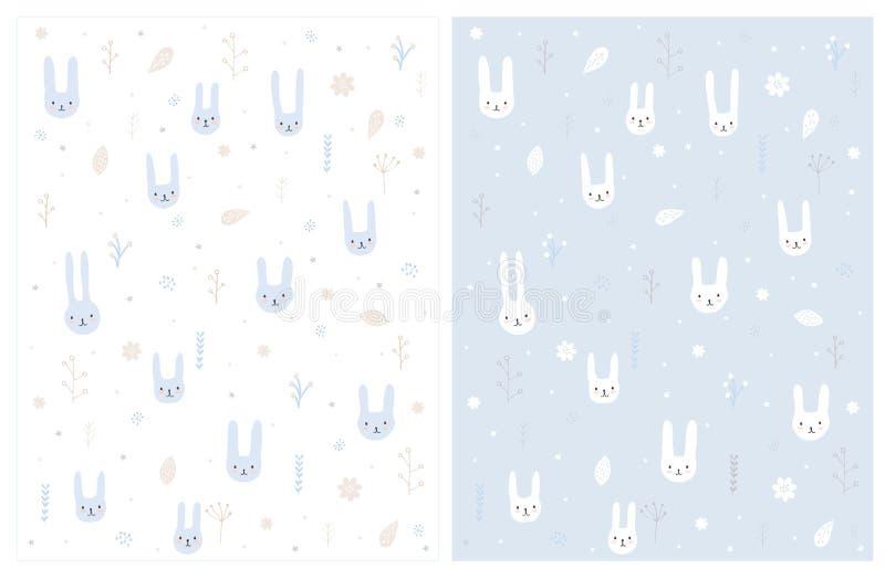 Beau modèle tiré par la main de vecteur de lapins Lapins blancs et bleus doux se reposant parmi des fleurs illustration libre de droits