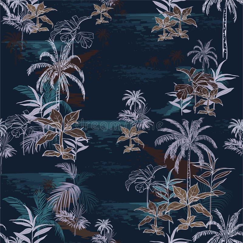 Beau modèle tropical foncé sans couture d'île sur le CCB de bleu marine illustration de vecteur