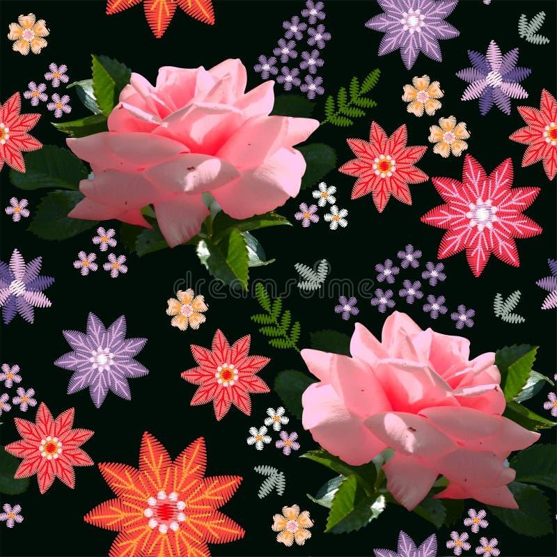 Beau motif continu fleuri avec roses roses roses et fleurs de broderie abstraites sur fond noir photos stock