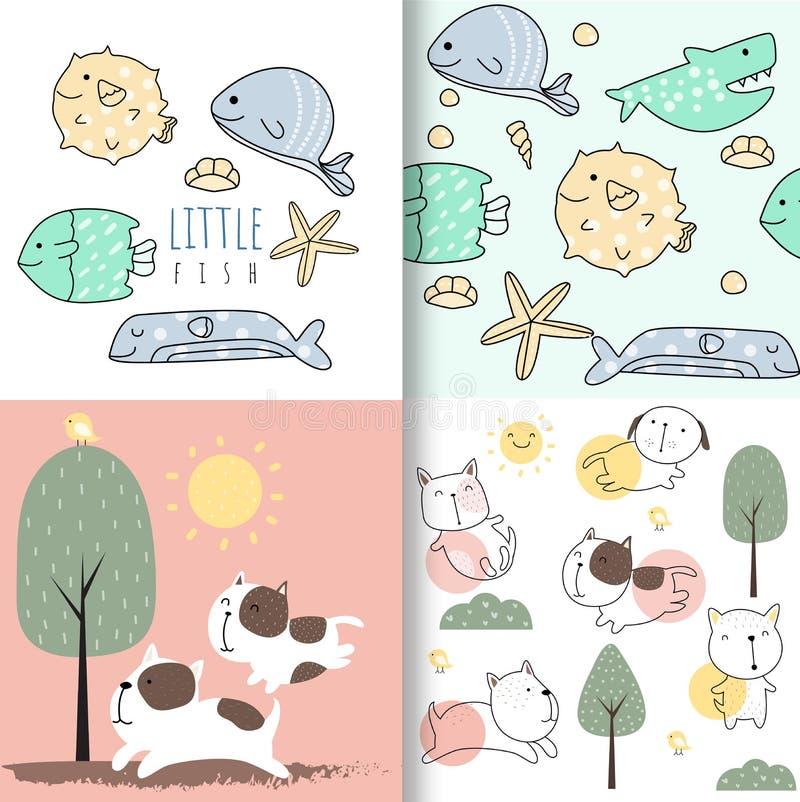 Beau motif pour bébés poissons et chiens sans soudure, pour tissus, textiles, vêtements pour enfants, papier d'emballage illustration de vecteur