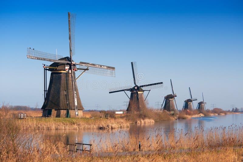 beau moulin à vent d'horizontal de kinderdijk photo libre de droits