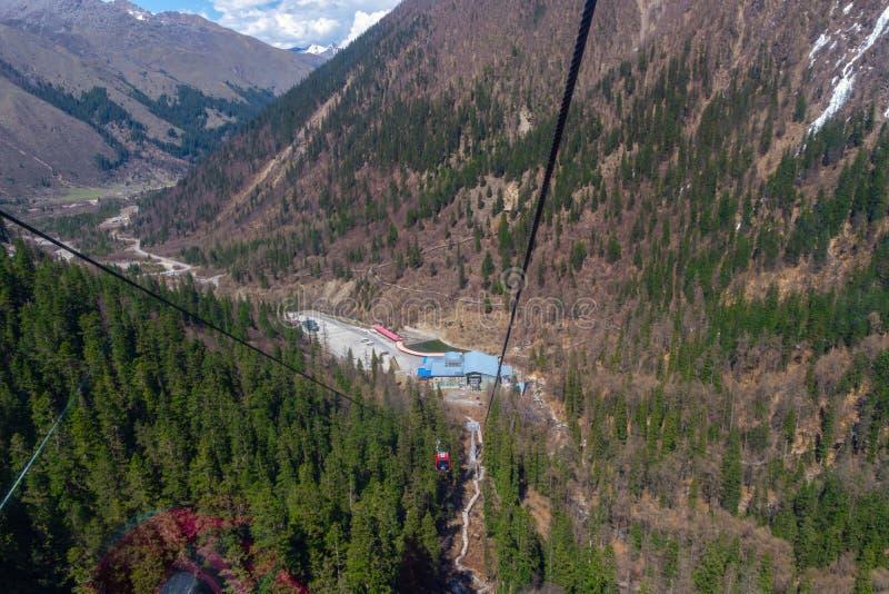 Beau Mountain View de neige de paysage de parc national de glacier de Dagu, Chengdu, Chine images libres de droits