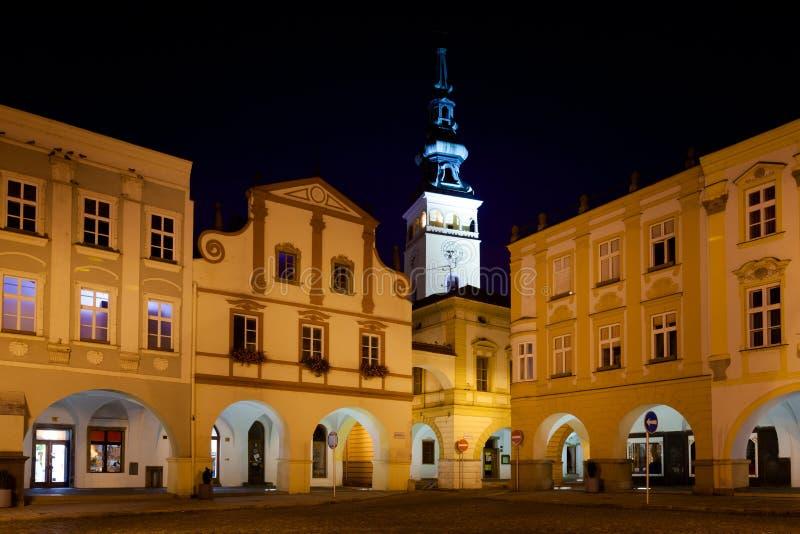 Beau Novy Jicin par nuit photos libres de droits
