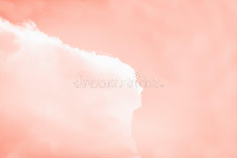 Beau nuage sous forme de femme avec de longs cheveux Fond de corail rose de ciel de couleur photos libres de droits