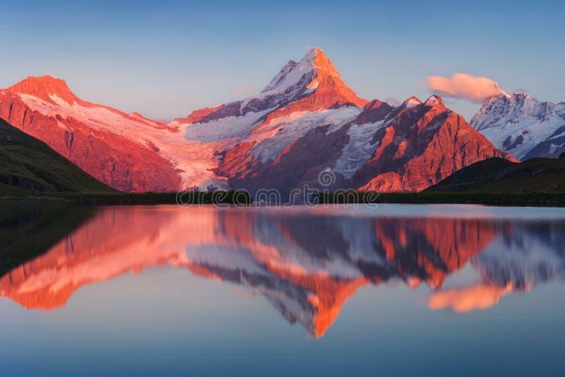Beau panorama égalisant de lac Bachalp/de Bachalpsee, Suisse Coucher du soleil pittoresque d'été dans les Alpes suisses, Grindelw photos libres de droits